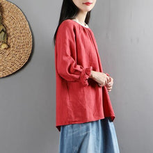 Load image into Gallery viewer, Women ruffles o neck linen long sleeve tops women blouses Cotton red top