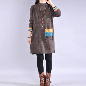 Women side open Sweater patchwork pockets dresses Classy khaki Largo sweater dress