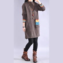 Load image into Gallery viewer, Women side open Sweater patchwork pockets dresses Classy khaki Largo sweater dress