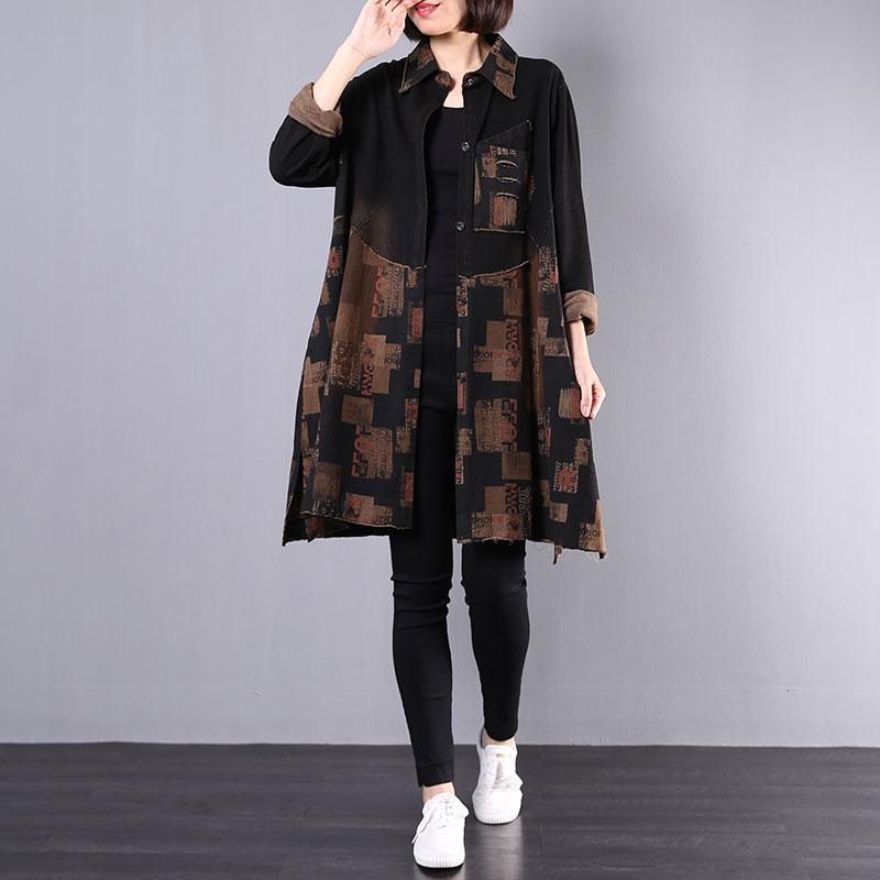 Women side open cotton clothes For Women pattern black prints trench coats fall