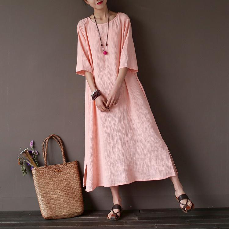 Women side open cotton summer clothes For Women Inspiration pink o neck Dresses