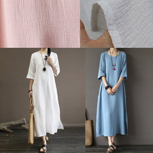 Load image into Gallery viewer, Women side open cotton summer clothes For Women Inspiration pink o neck Dresses