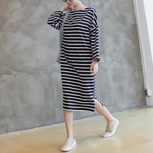 Load image into Gallery viewer, Women side open cotton wild quilting clothes Fabrics navy striped Maxi Dress