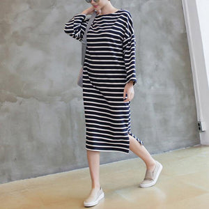 Women side open cotton wild quilting clothes Fabrics navy striped Maxi Dress