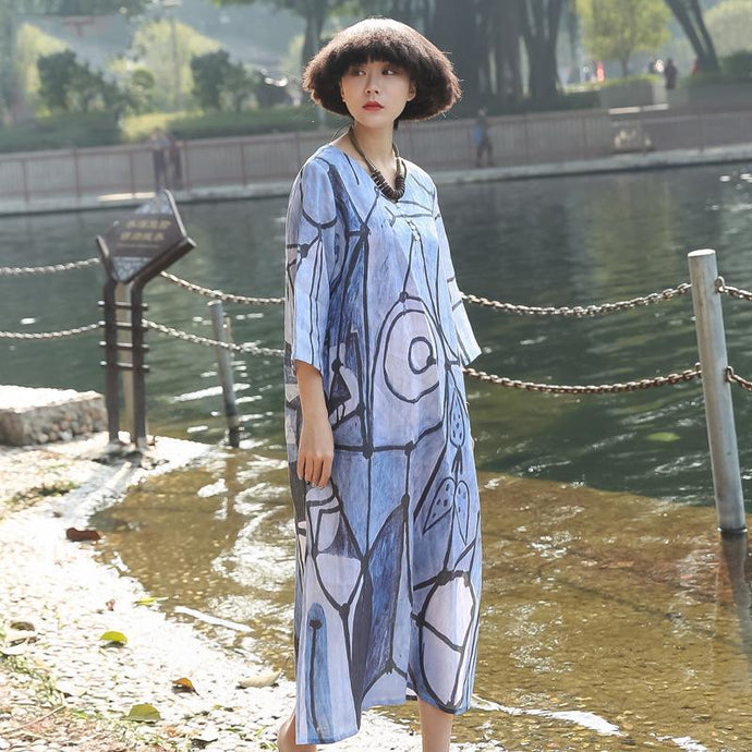 Women side open linen dress Work Outfits prints Dress summer