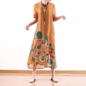 Women side open two pieces chiffon clothes Omychic Christmas Gifts orange print Kaftan Dress