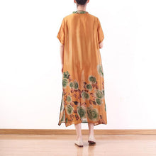 Load image into Gallery viewer, Women side open two pieces chiffon clothes Omychic Christmas Gifts orange print Kaftan Dress
