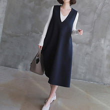 Load image into Gallery viewer, Women sleeveless cotton v neck Tunics linen navy cotton robes Dress