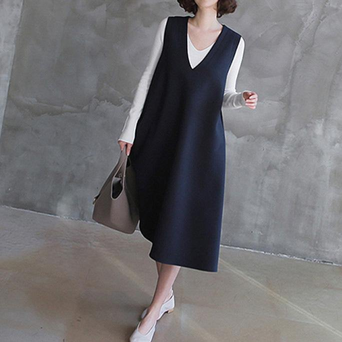 Women sleeveless cotton v neck Tunics linen navy cotton robes Dress