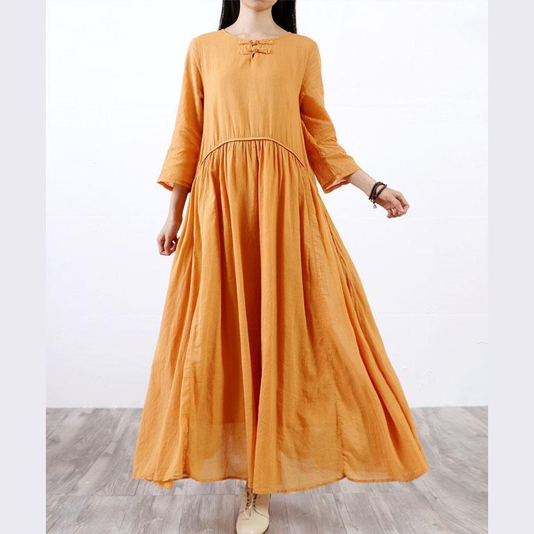 Women slim linen cotton dress Runway yellow o neck Dresses fall