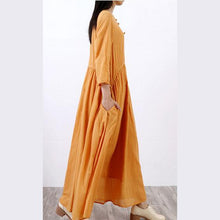 Laden Sie das Bild in den Galerie-Viewer, Women slim linen cotton dress Runway yellow o neck Dresses fall