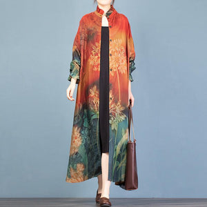 Women stand collar Button Down Plus Size spring trench coat red print Vestidos De Lino coat