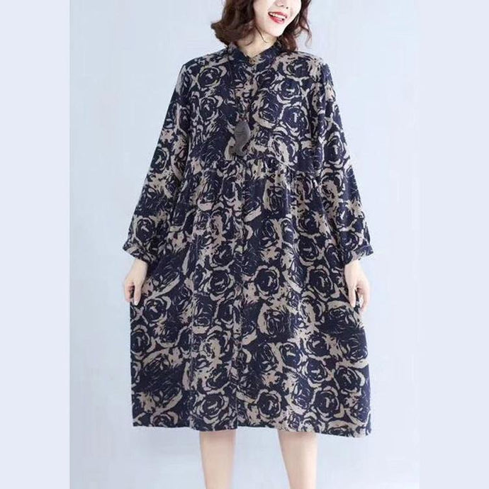 Women stand collar Cotton fall tunic pattern Neckline blue print Dress