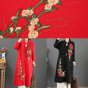 Women stand collar Sweater embroidery dresses DIY red winter Ugly sweater dresses