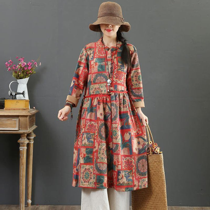 Women stand collar cotton linen clothes Runway red prints Dress fall