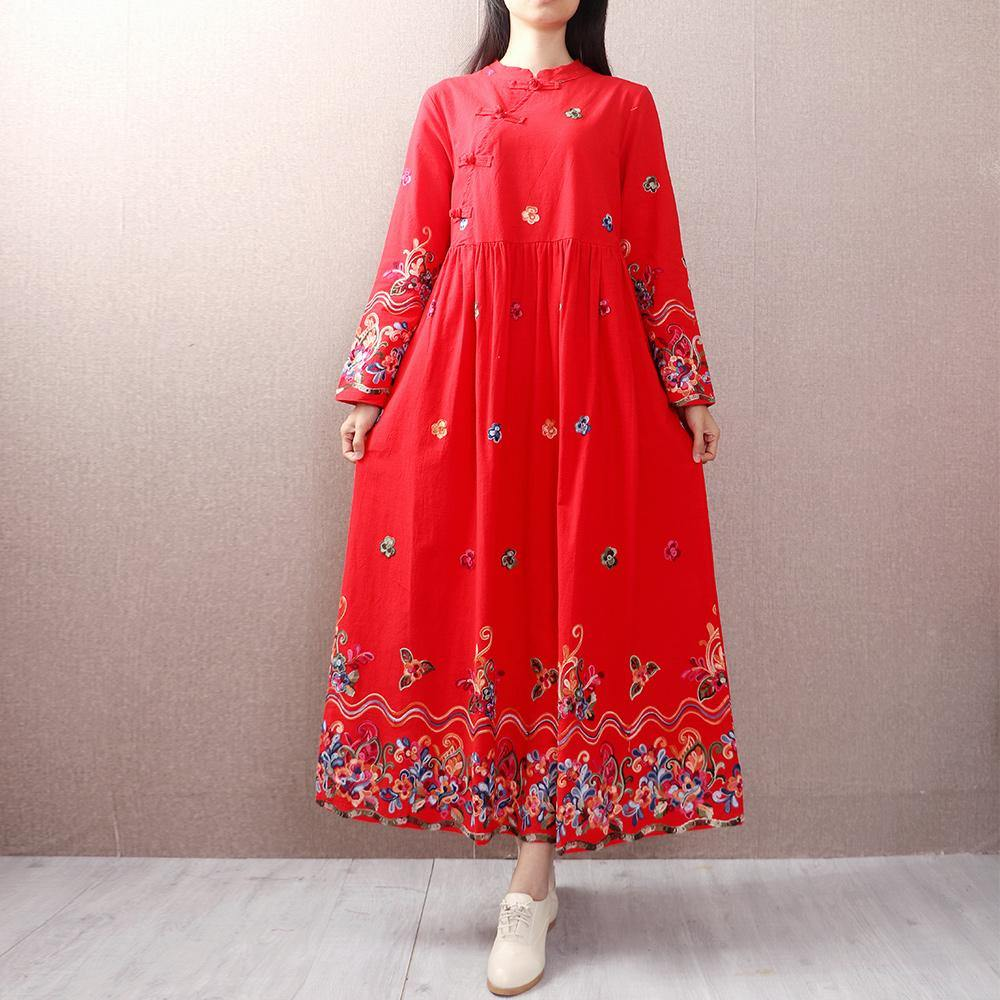 Women stand collar linen cotton Soft Surroundings Sleeve red embroidery Dresses autumn