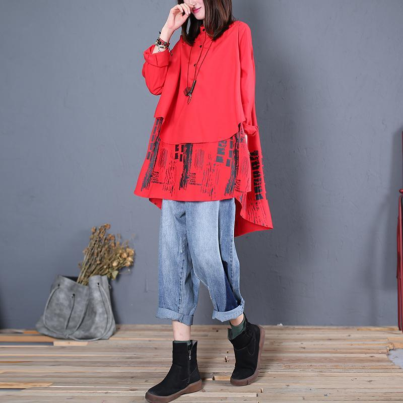 Women stand collar patchwork cotton tunics for women design red print blouse fall