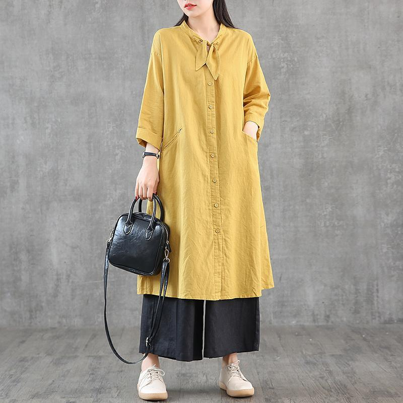 Women stand collar pockets linen dress Shirts yellow Dress