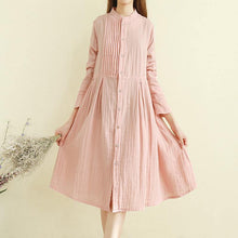 Laden Sie das Bild in den Galerie-Viewer, Women stand collar wrinkled cotton linen clothes For Women Organic Inspiration navy Midi Dresses