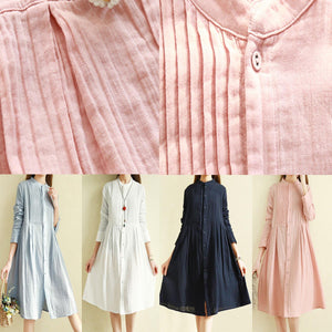 Women stand collar wrinkled cotton linen clothes For Women Organic Inspiration navy Midi Dresses
