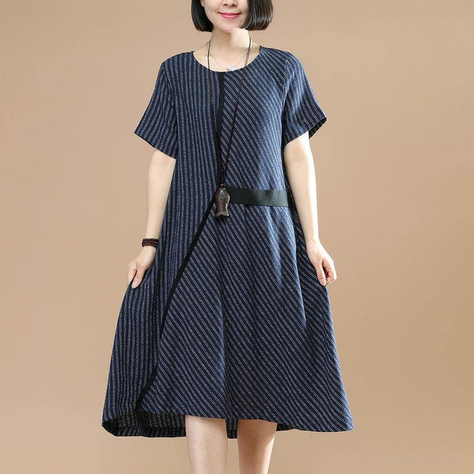 Women striped o neck Cotton clothes For Women Photography navy  Dresses summer