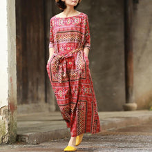 Load image into Gallery viewer, Women tie waist cotton spring tunics for women Tunic Tops red prints long Dress