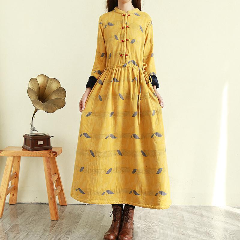 Women tie waist linen winter clothes Online Shopping yellow prints Dress