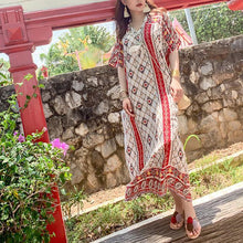 Load image into Gallery viewer, Women v neck baggy dress Tutorials red print Plus Size Dresses