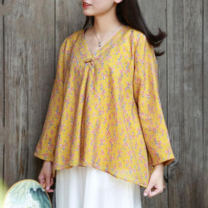 Women v neck cotton linen tops women Cotton yellow prints top fall