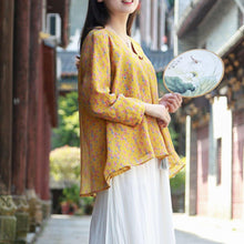 Laden Sie das Bild in den Galerie-Viewer, Women v neck cotton linen tops women Cotton yellow prints top fall