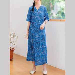 Women v neck linen clothes For Women design blue floral Dresses summer