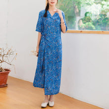 Load image into Gallery viewer, Women v neck linen clothes For Women design blue floral Dresses summer