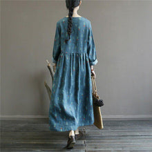 Load image into Gallery viewer, Women v neck linen patchwork clothes Runway blue floral Dress
