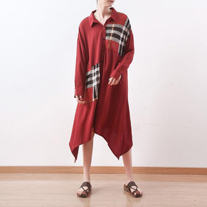 Women v neck patchwork cotton dresses plus size Neckline red Maxi Dress spring