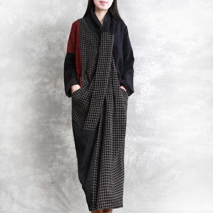 Women v neck patchwork linen Robes Photography black plaid Dresses fall
