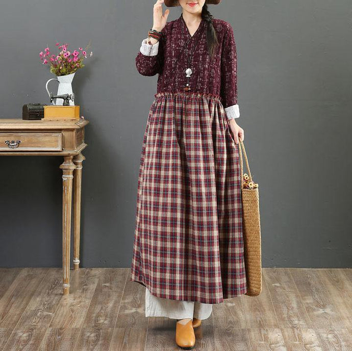 Women v neck wrinkled linen clothes For Women design purple plaid Dresses fall