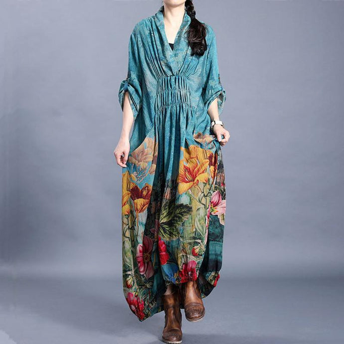 Women v neck wrinkled quilting clothes Outfits blue print Traveling Dress