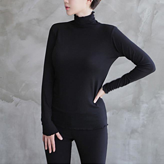 Women wild cotton high neck Blouse Inspiration black blouses