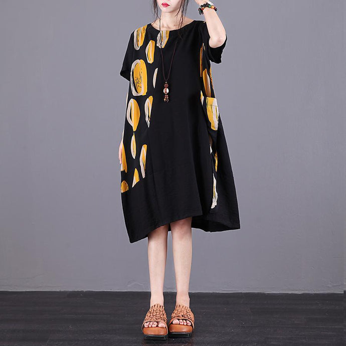 Women yellow print chiffon dresses Fine Fabrics o neck patchwork Kaftan Summer Dresses