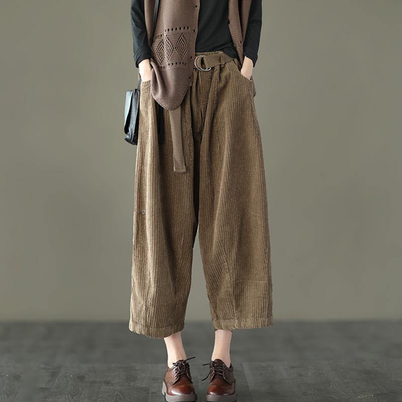 Casual Pocket Corduroy DIY Pants Plus size