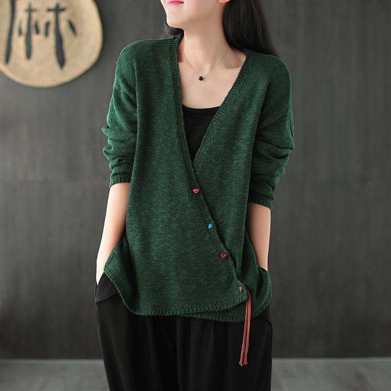 Oversize Women Knit Vintage V-neck Coat ( Limited Stock)