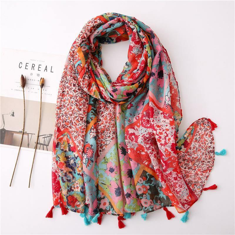 Women Vintage Sunscreen Printed Scarf