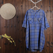 Laden Sie das Bild in den Galerie-Viewer, Women Cotton Linen Dress Casual Plaid Dress