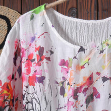 Load image into Gallery viewer, Women Splicing Printing Floral Linen Summer Dress
