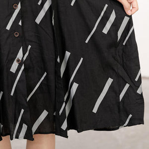 Women Stripe Splicing Casual Loose Dress
