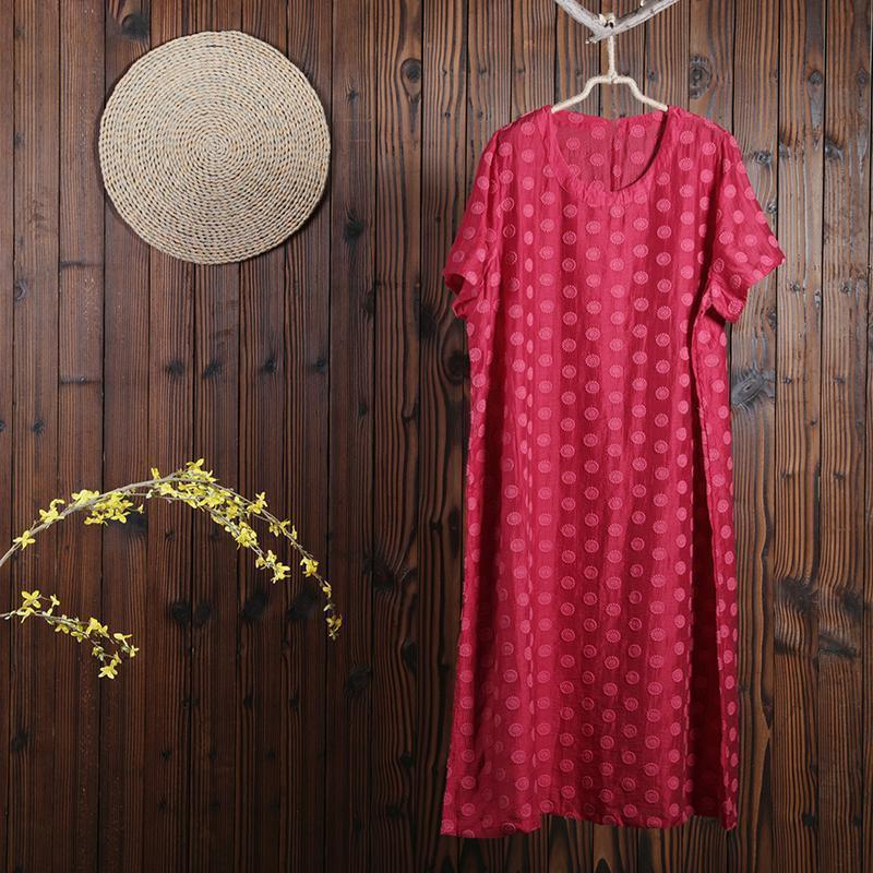 Women Summer Casual Solid Pullover Loose Short Sleeve Dress