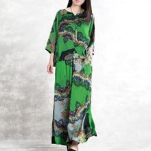 Load image into Gallery viewer, Women's 2019 green print summer silk art suit loose drape fashion two-piece