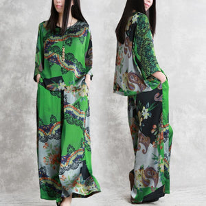 Women's 2019 green print summer silk art suit loose drape fashion two-piece
