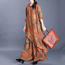 Load image into Gallery viewer, Women's Retro Silk Yellow Print Irregular Long Top Loose Wide Leg Pants