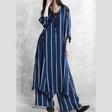 Load image into Gallery viewer, Women's Spring Retro Linen Set Blue Striped Loose Lace Diagonal Lapel Casual Two-Piece Set